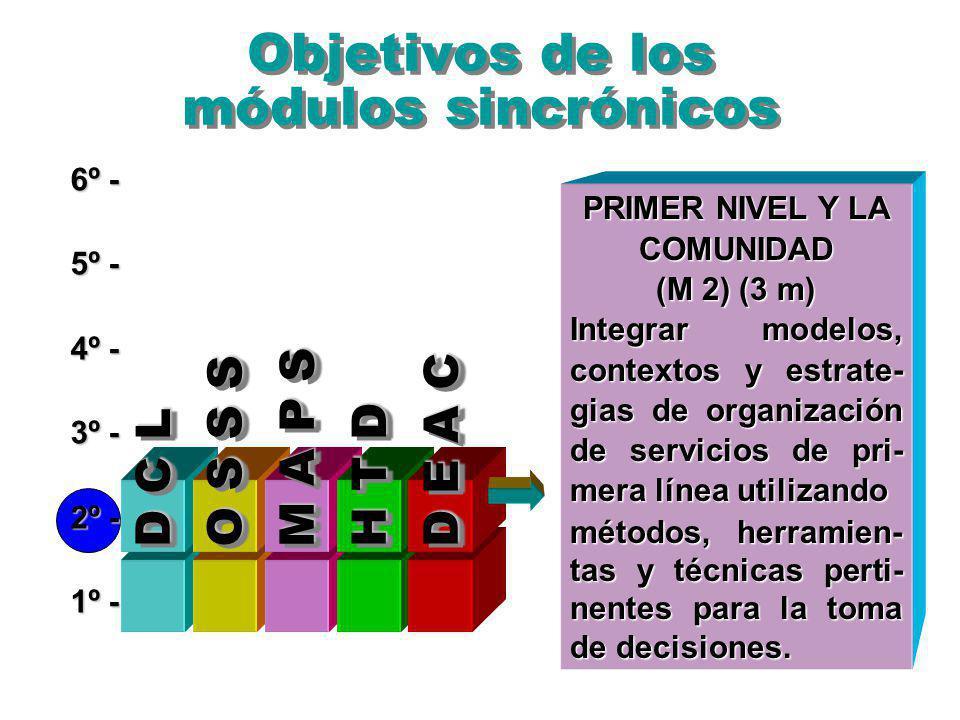 Objetivos de los módulos sincrónicos 6º - 5º - 4º - 3º - 2º - 1º - PRIMER NIVEL Y LA COMUNIDAD (M 2) (3 m) Integrar modelos, contextos y estrate- gias de organización de servicios de pri- mera línea utilizando métodos, herramien- tas y técnicas perti- nentes para la toma de decisiones.