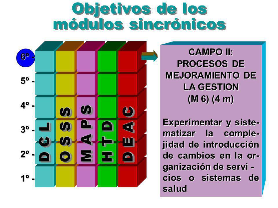 Objetivos de los módulos sincrónicos 6º - 5º - 4º - 3º - 2º - 1º - PUCE/ISP, agosto 26, 1999 O S S S M A P S D E A C D C L H T D CAMPO II: PROCESOS DE MEJORAMIENTO DE LA GESTION (M 6) (4 m) Experimentar y siste- matizar la comple- jidad de introducción de cambios en la or- ganización de servi - cios o sistemas de salud