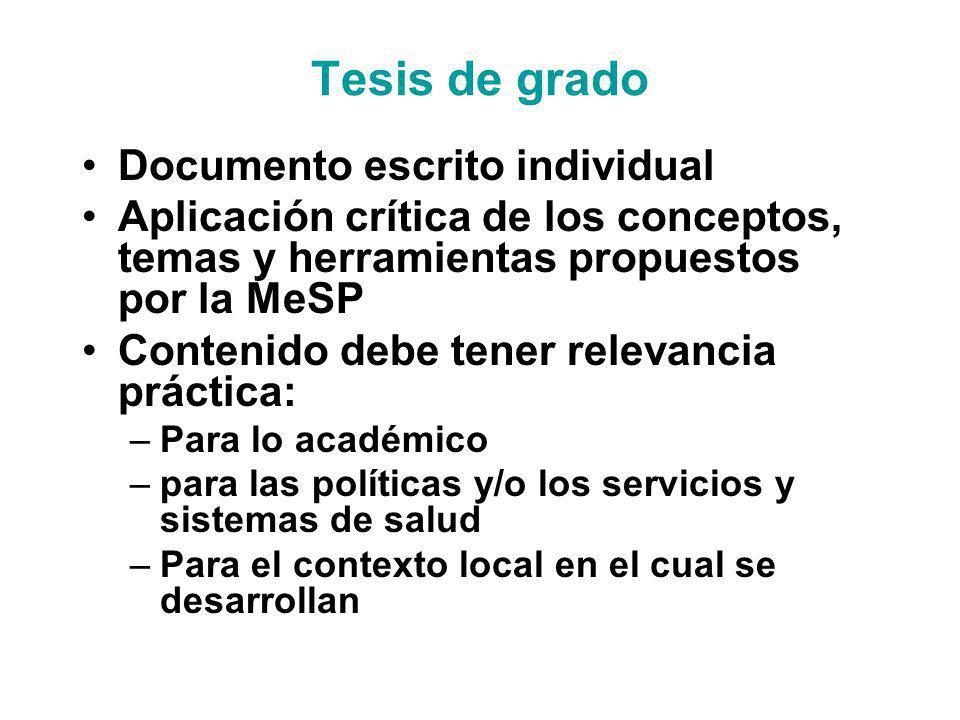 Tesis de grado Documento escrito individual Aplicación crítica de los conceptos, temas y herramientas propuestos por la MeSP Contenido debe tener rele