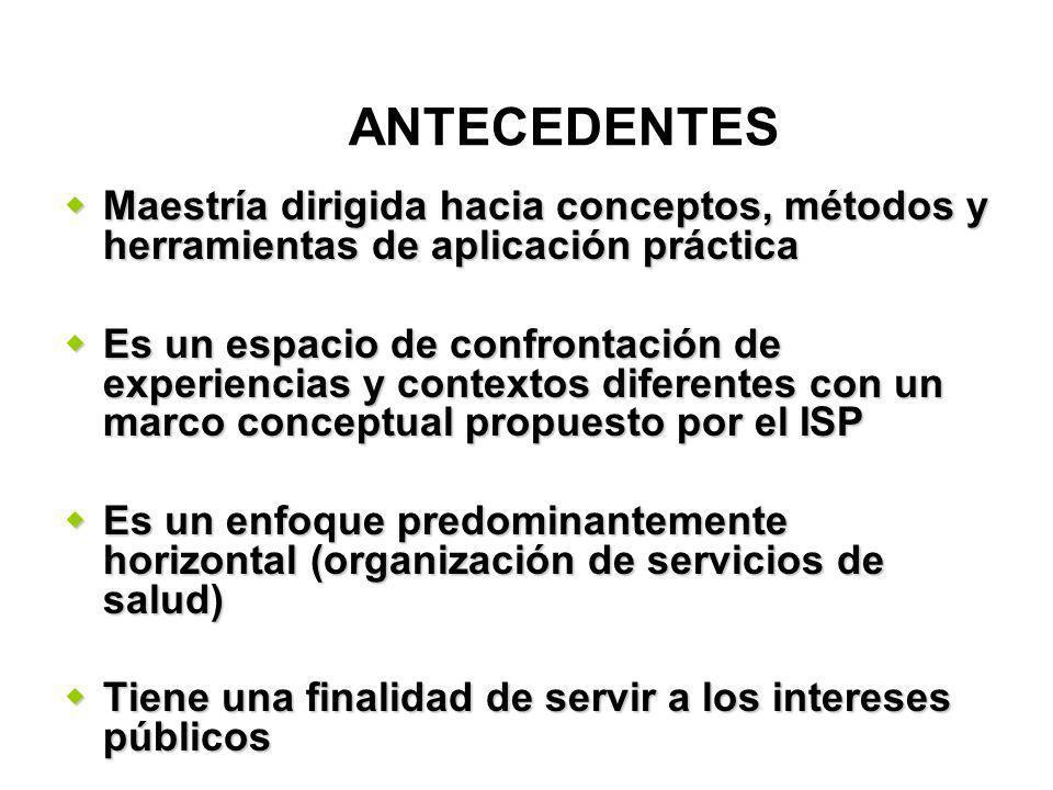 Maestría dirigida hacia conceptos, métodos y herramientas de aplicación práctica Maestría dirigida hacia conceptos, métodos y herramientas de aplicación práctica Es un espacio de confrontación de experiencias y contextos diferentes con un marco conceptual propuesto por el ISP Es un espacio de confrontación de experiencias y contextos diferentes con un marco conceptual propuesto por el ISP Es un enfoque predominantemente horizontal (organización de servicios de salud) Es un enfoque predominantemente horizontal (organización de servicios de salud) Tiene una finalidad de servir a los intereses públicos Tiene una finalidad de servir a los intereses públicos ANTECEDENTES