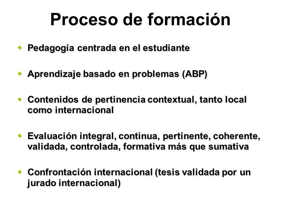 Proceso de formación Pedagogía centrada en el estudiante Pedagogía centrada en el estudiante Aprendizaje basado en problemas (ABP) Aprendizaje basado en problemas (ABP) Contenidos de pertinencia contextual, tanto local como internacional Contenidos de pertinencia contextual, tanto local como internacional Evaluación integral, continua, pertinente, coherente, validada, controlada, formativa más que sumativa Evaluación integral, continua, pertinente, coherente, validada, controlada, formativa más que sumativa Confrontación internacional (tesis validada por un jurado internacional) Confrontación internacional (tesis validada por un jurado internacional)