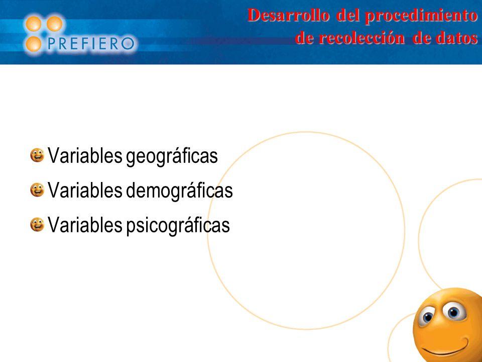 Desarrollo del procedimiento de recolección de datos Variables geográficas Variables demográficas Variables psicográficas