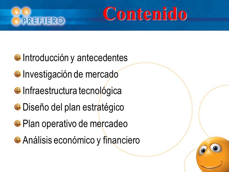 Contenido Introducción y antecedentes Investigación de mercado Infraestructura tecnológica Diseño del plan estratégico Plan operativo de mercadeo Análisis económico y financiero
