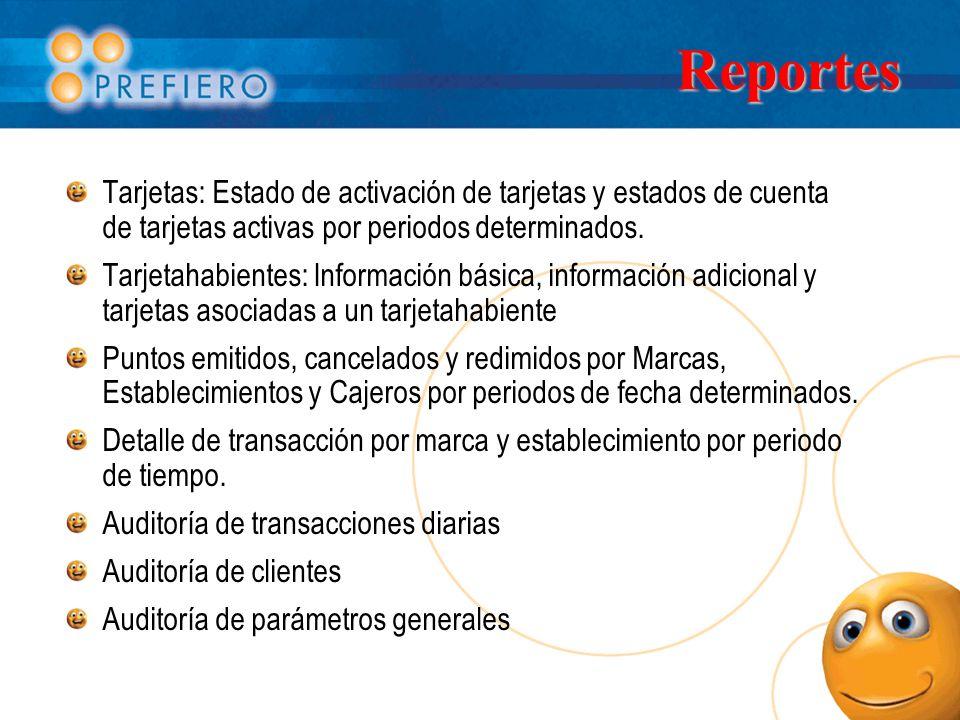Reportes Tarjetas: Estado de activación de tarjetas y estados de cuenta de tarjetas activas por periodos determinados. Tarjetahabientes: Información b