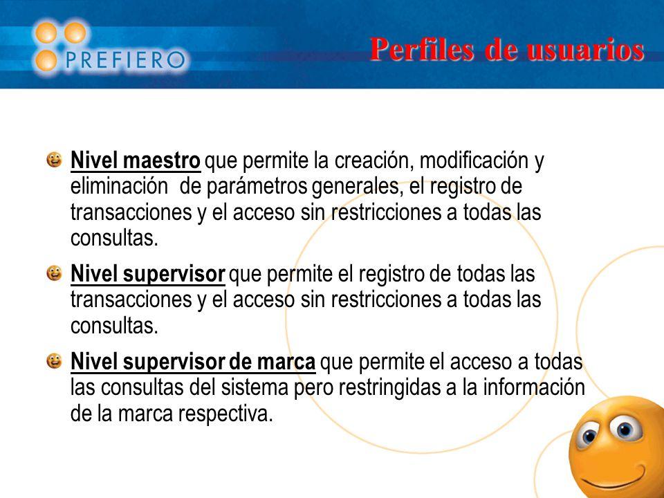 Perfiles de usuarios Nivel maestro que permite la creación, modificación y eliminación de parámetros generales, el registro de transacciones y el acceso sin restricciones a todas las consultas.