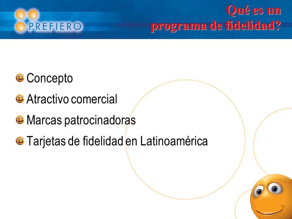 Qué es un programa de fidelidad? Concepto Atractivo comercial Marcas patrocinadoras Tarjetas de fidelidad en Latinoamérica