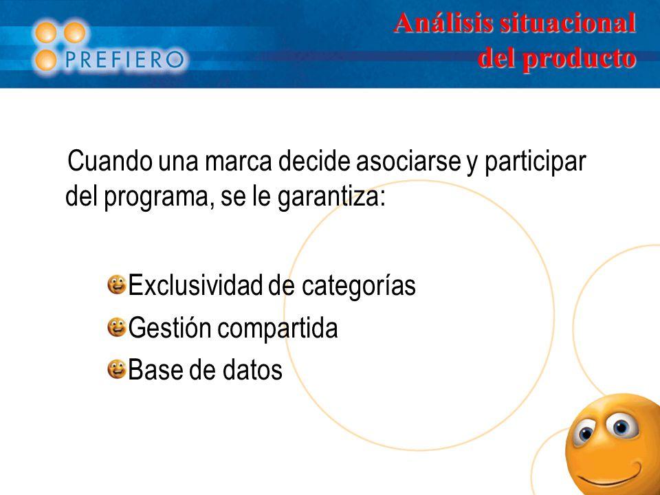 Análisis situacional del producto Cuando una marca decide asociarse y participar del programa, se le garantiza: Exclusividad de categorías Gestión compartida Base de datos