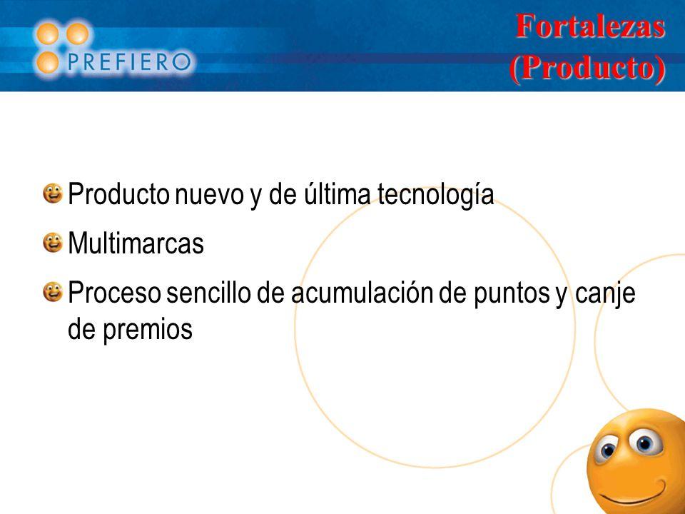 Fortalezas (Producto) Producto nuevo y de última tecnología Multimarcas Proceso sencillo de acumulación de puntos y canje de premios