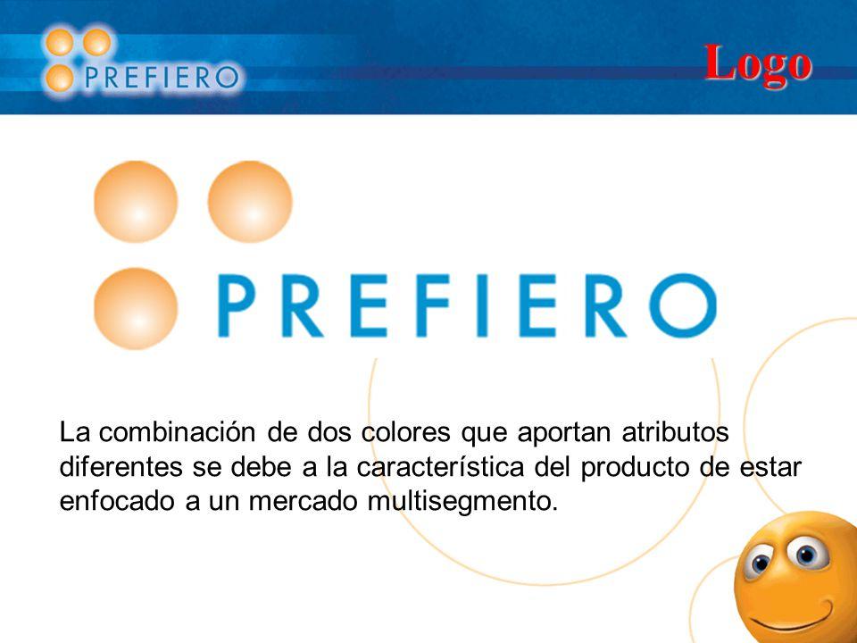 Logo La combinación de dos colores que aportan atributos diferentes se debe a la característica del producto de estar enfocado a un mercado multisegme