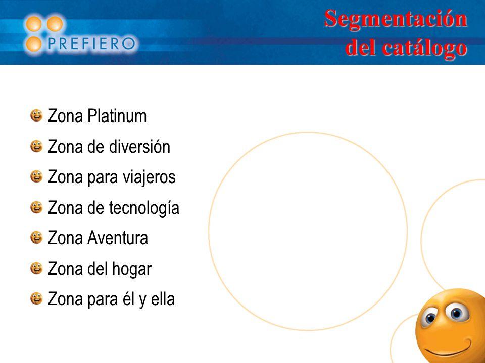 Segmentación del catálogo Zona Platinum Zona de diversión Zona para viajeros Zona de tecnología Zona Aventura Zona del hogar Zona para él y ella
