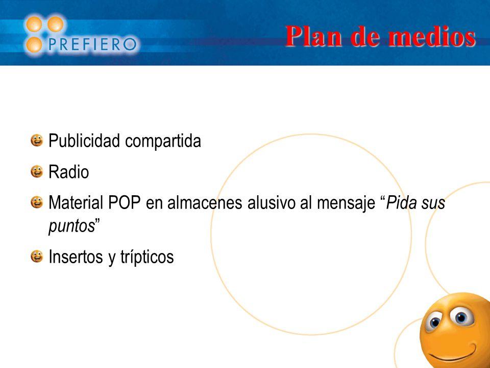 Plan de medios Publicidad compartida Radio Material POP en almacenes alusivo al mensaje Pida sus puntos Insertos y trípticos