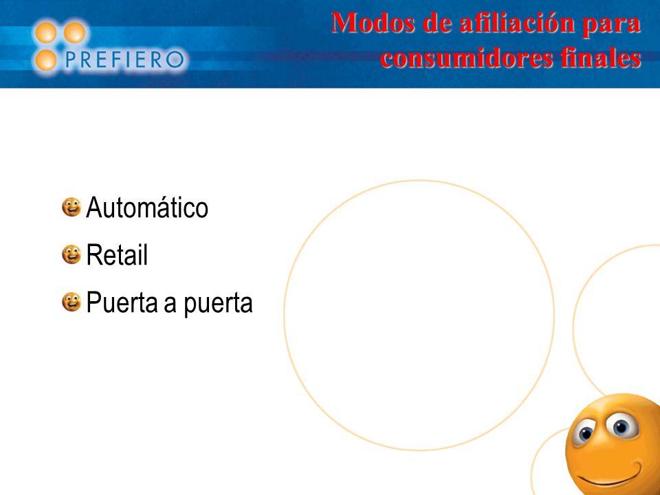 Modos de afiliación para consumidores finales Automático Retail Puerta a puerta