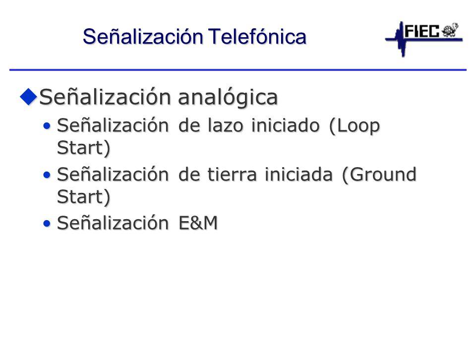 Señalización Telefónica Señalización analógica Señalización analógica Señalización de lazo iniciado (Loop Start)Señalización de lazo iniciado (Loop Start) Señalización de tierra iniciada (Ground Start)Señalización de tierra iniciada (Ground Start) Señalización E&MSeñalización E&M