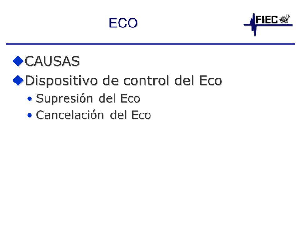 ECO CAUSAS CAUSAS Dispositivo de control del Eco Dispositivo de control del Eco Supresión del EcoSupresión del Eco Cancelación del EcoCancelación del Eco