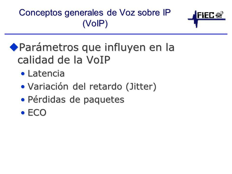 Conceptos generales de Voz sobre IP (VoIP) Parámetros que influyen en la calidad de la VoIP Parámetros que influyen en la calidad de la VoIP LatenciaLatencia Variación del retardo (Jitter)Variación del retardo (Jitter) Pérdidas de paquetesPérdidas de paquetes ECOECO