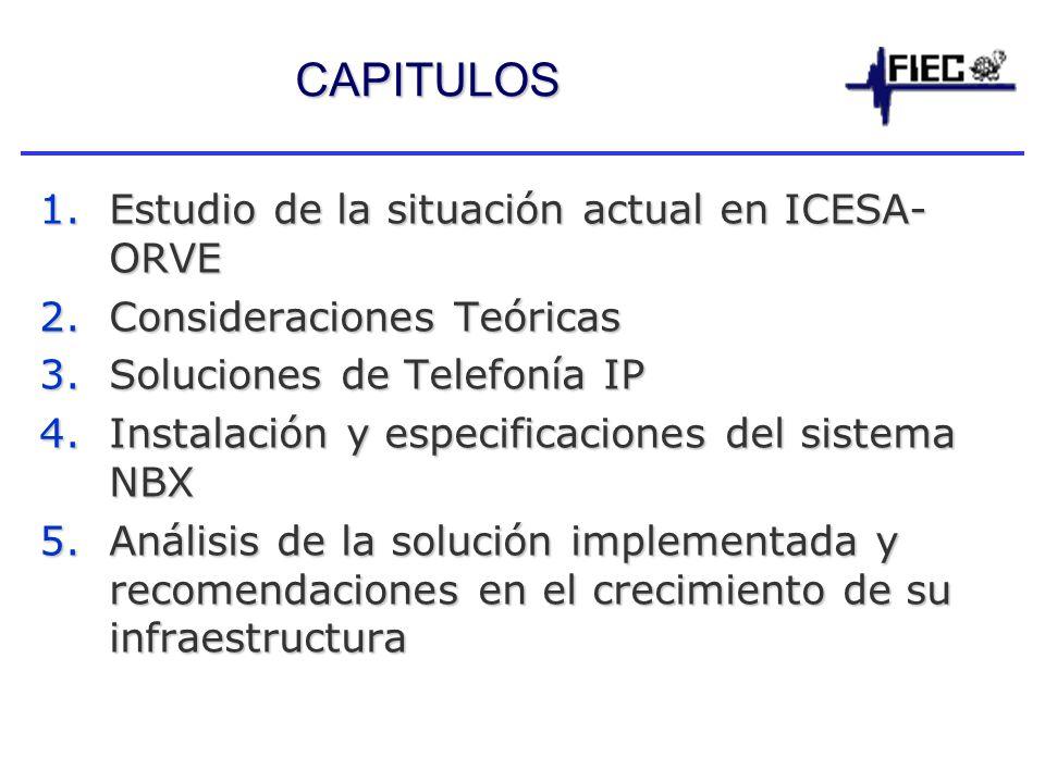 CAPITULOS 1.Estudio de la situación actual en ICESA- ORVE 2.Consideraciones Teóricas 3.Soluciones de Telefonía IP 4.Instalación y especificaciones del sistema NBX 5.Análisis de la solución implementada y recomendaciones en el crecimiento de su infraestructura