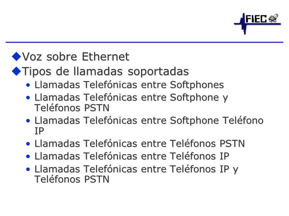Voz sobre Ethernet Voz sobre Ethernet Tipos de llamadas soportadas Tipos de llamadas soportadas Llamadas Telefónicas entre SoftphonesLlamadas Telefónicas entre Softphones Llamadas Telefónicas entre Softphone y Teléfonos PSTNLlamadas Telefónicas entre Softphone y Teléfonos PSTN Llamadas Telefónicas entre Softphone Teléfono IPLlamadas Telefónicas entre Softphone Teléfono IP Llamadas Telefónicas entre Teléfonos PSTNLlamadas Telefónicas entre Teléfonos PSTN Llamadas Telefónicas entre Teléfonos IPLlamadas Telefónicas entre Teléfonos IP Llamadas Telefónicas entre Teléfonos IP y Teléfonos PSTNLlamadas Telefónicas entre Teléfonos IP y Teléfonos PSTN