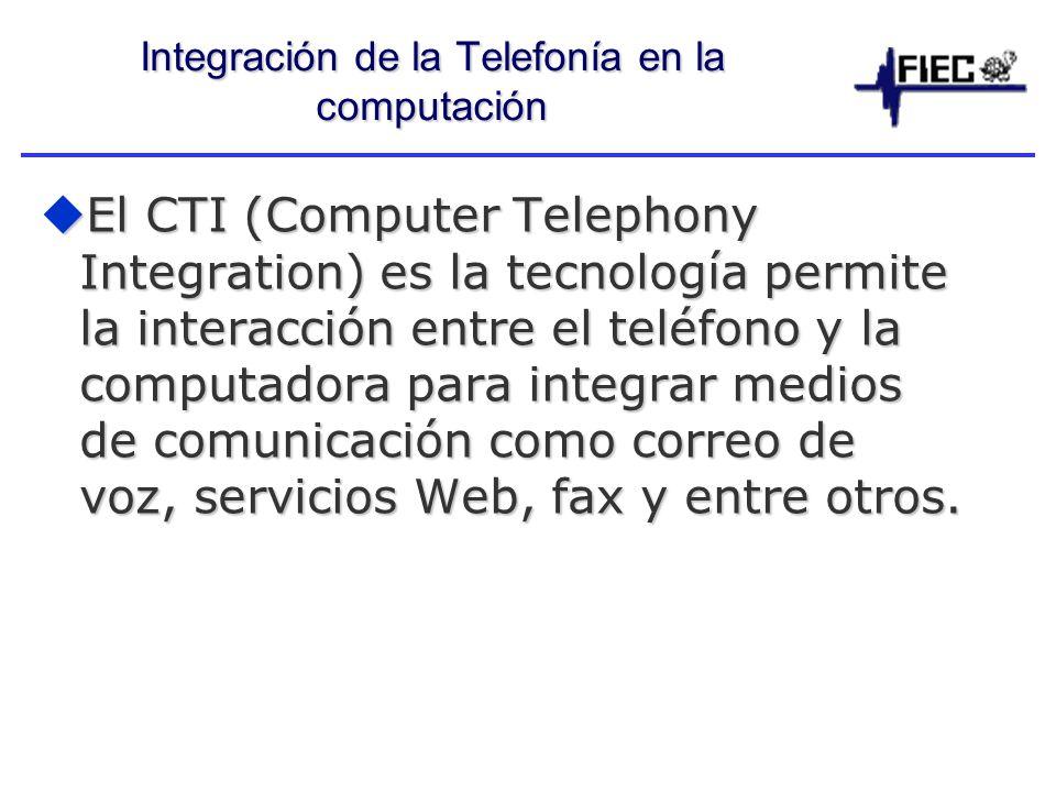 Integración de la Telefonía en la computación El CTI (Computer Telephony Integration) es la tecnología permite la interacción entre el teléfono y la computadora para integrar medios de comunicación como correo de voz, servicios Web, fax y entre otros.