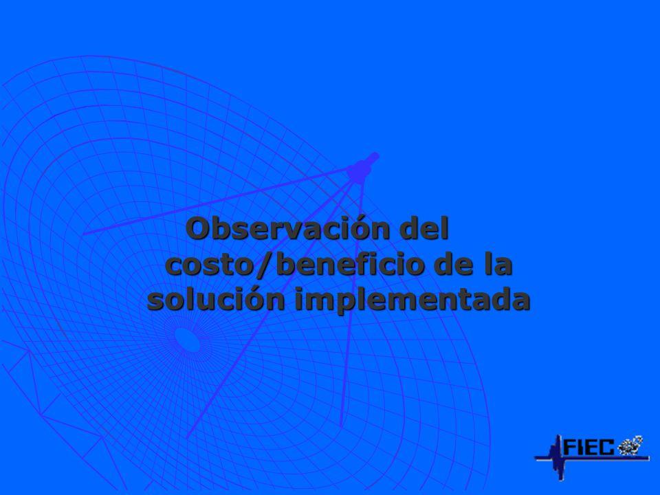 Observación del costo/beneficio de la solución implementada