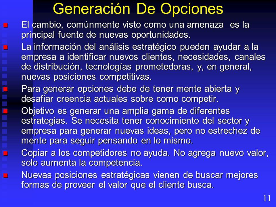 Generación De Opciones El cambio, comúnmente visto como una amenaza es la principal fuente de nuevas oportunidades. El cambio, comúnmente visto como u