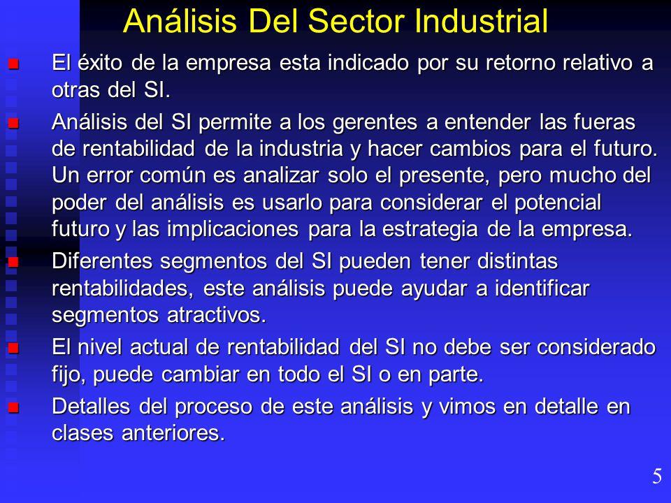 Análisis Del Sector Industrial El éxito de la empresa esta indicado por su retorno relativo a otras del SI.