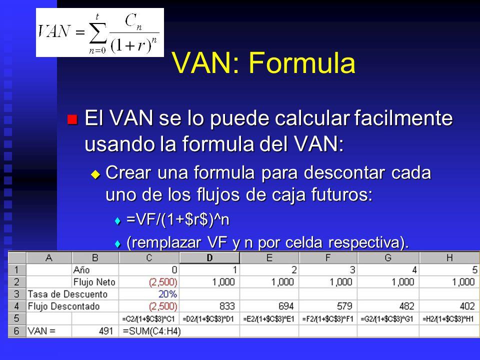 VAN: Función Cuidado con rango a utilizar: Cuidado con rango a utilizar: fxfx