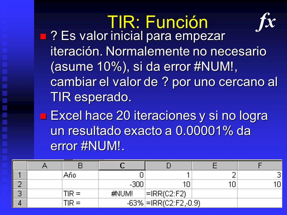 TIR: Función =IRR(RangFlujo) o =IRR(RangFlujo,?) =IRR(RangFlujo) o =IRR(RangFlujo,?) =TIR(RangFlujo) o =TIR(RangFlujo,?) =TIR(RangFlujo) o =TIR(RangFl