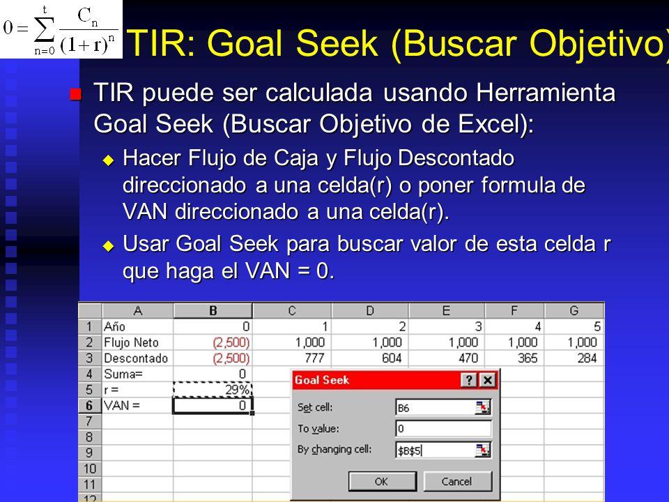 TIR: Función ? Es valor inicial para empezar iteración. Normalemente no necesario (asume 10%), si da error #NUM!, cambiar el valor de ? por uno cercan