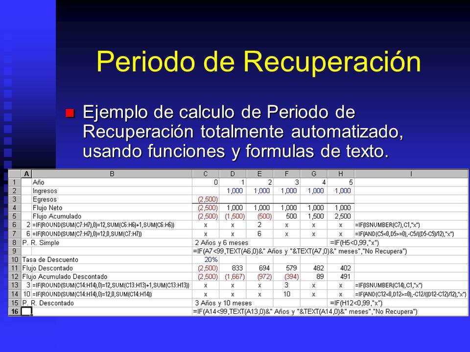 Periodo de Recuperación Calcular el Flujo (o Flujo Descontado). Calcular el Flujo (o Flujo Descontado). Calcular el flujo acumulado (flujo acumulado a
