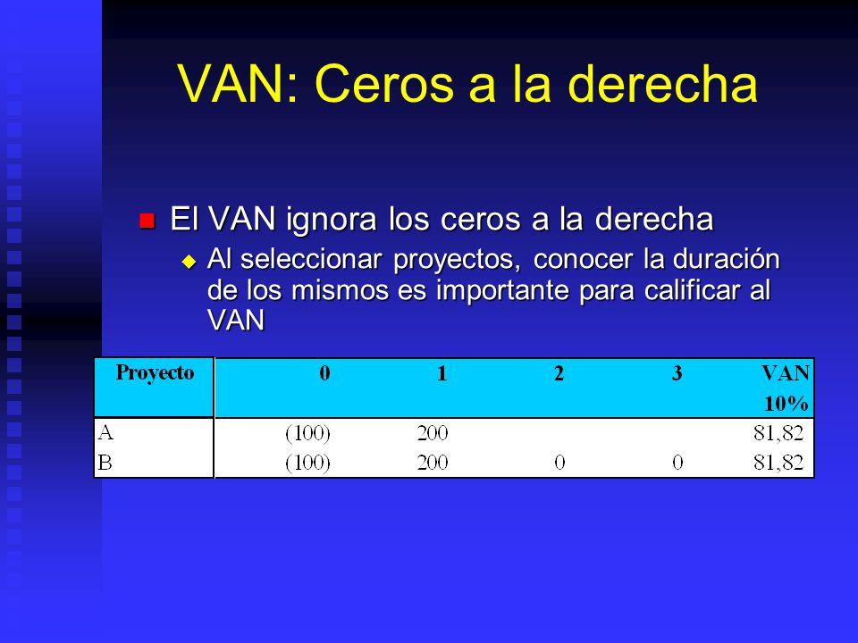 VAN: Aditividad (II) Concepto vinculado: Separabilidad de proyectos. Concepto vinculado: Separabilidad de proyectos. En lo posible, los proyectos y su