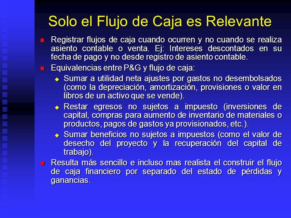 Solo el Flujo de Caja es Relevante El primer punto y el mas relevante en la regla del VAN es el concepto de flujo de caja. El primer punto y el mas re