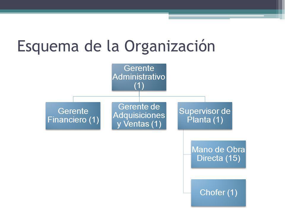 Esquema de la Organización Gerente Administrativo (1) Gerente Financiero (1) Gerente de Adquisiciones y Ventas (1) Supervisor de Planta (1) Mano de Obra Directa (15) Chofer (1)