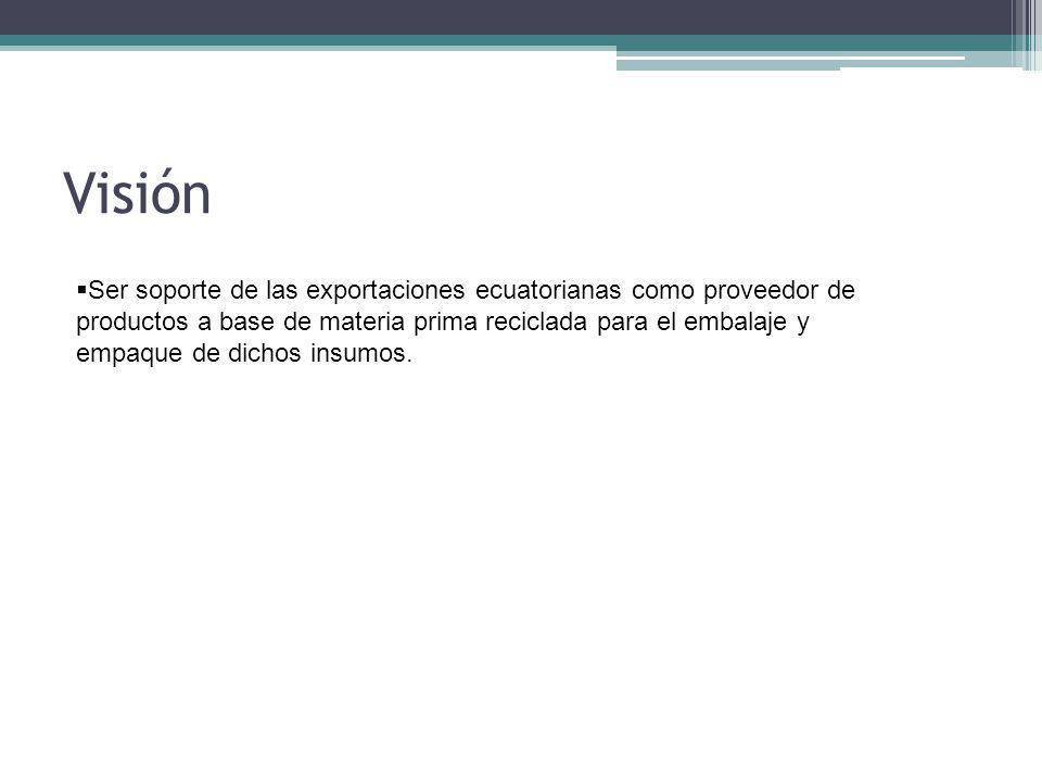 Visión Ser soporte de las exportaciones ecuatorianas como proveedor de productos a base de materia prima reciclada para el embalaje y empaque de dichos insumos.