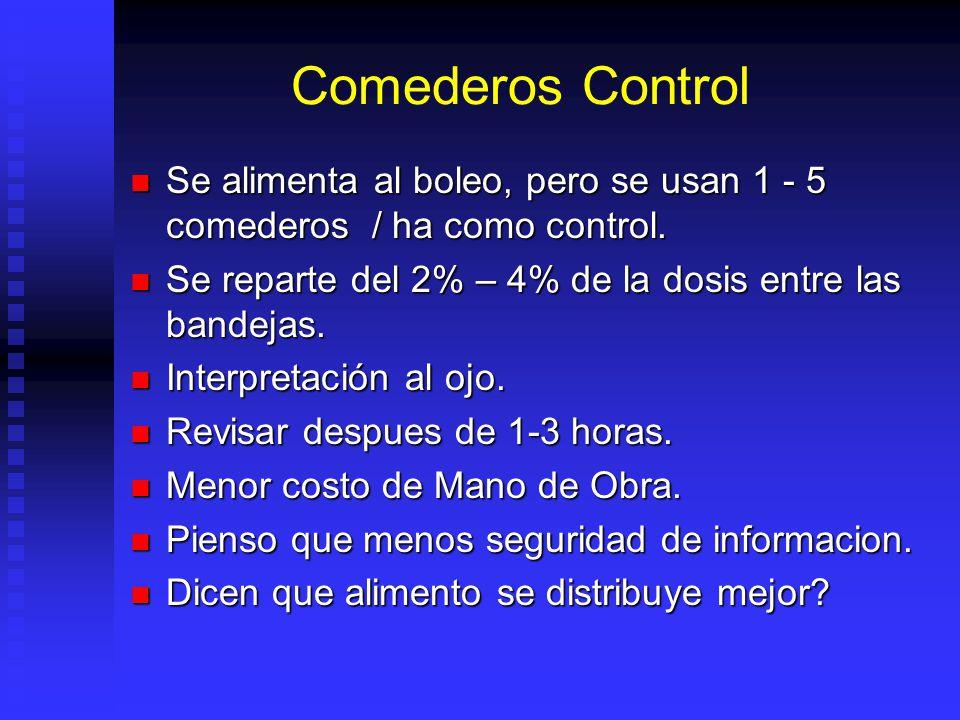 Comederos Total Se aplica todo el alimento en los comederos. Se aplica todo el alimento en los comederos. 40 - 50 comederos / Ha (usado hasta 10). 40