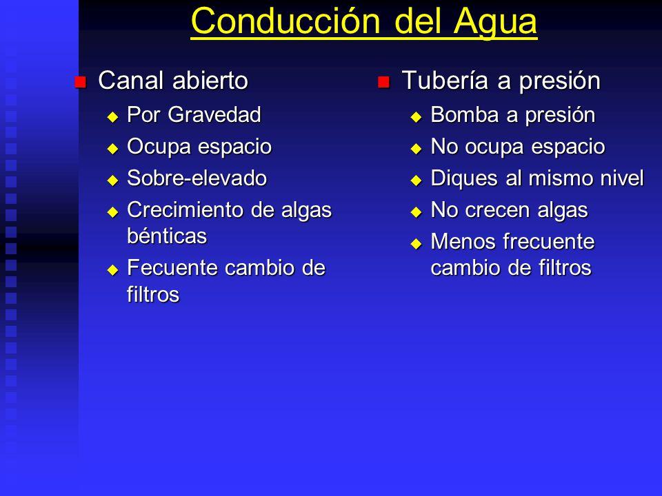 Distribución De Agua Canal tierra abierto: Canal tierra abierto: Menor costo, No necesita rebombeo, Oxigenación agua. Menor costo, No necesita rebombe