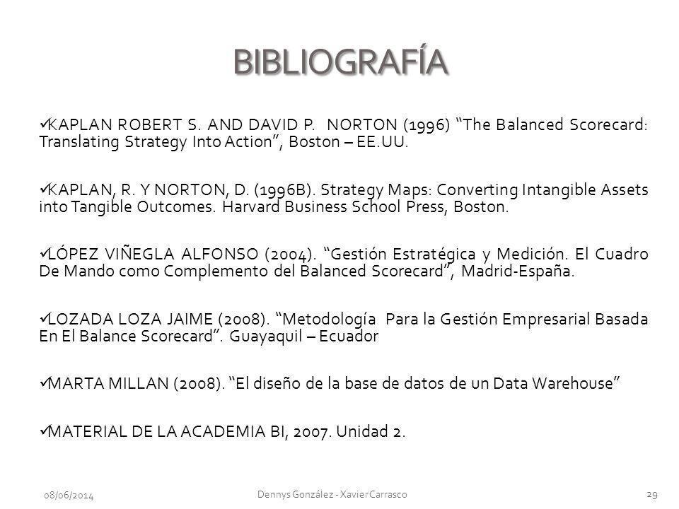 BIBLIOGRAFÍA 08/06/2014 29 Dennys González - Xavier Carrasco KAPLAN ROBERT S. AND DAVID P. NORTON (1996) The Balanced Scorecard: Translating Strategy