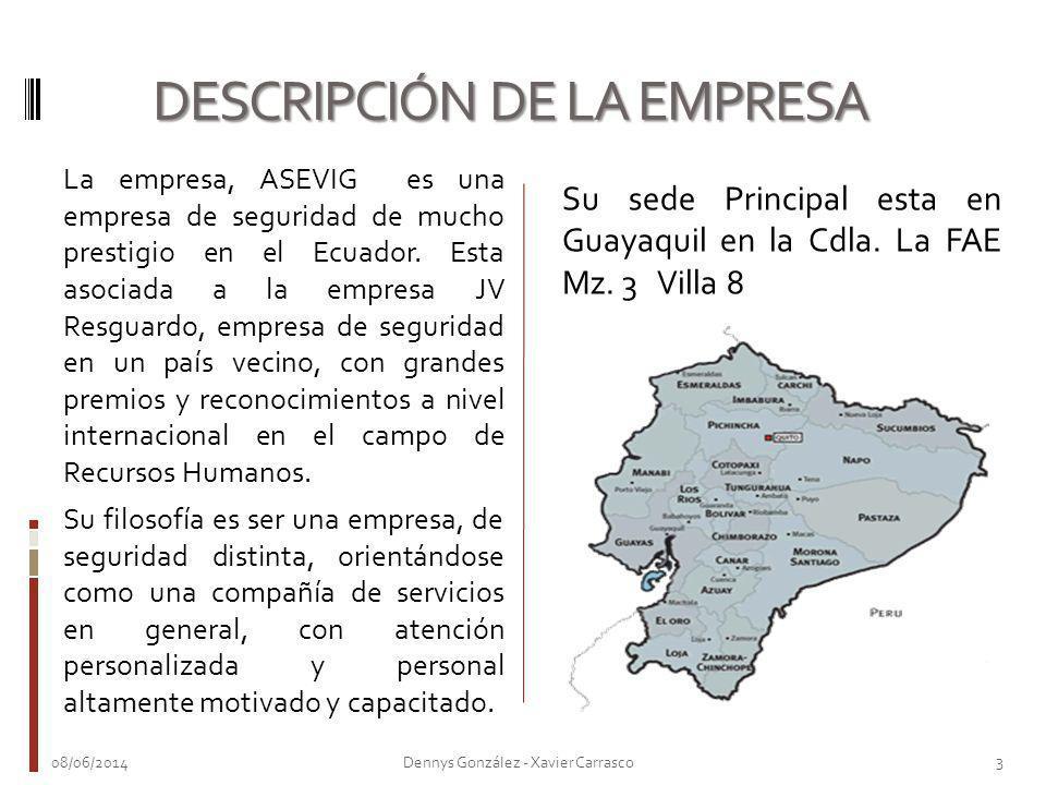 La empresa, ASEVIG es una empresa de seguridad de mucho prestigio en el Ecuador. Esta asociada a la empresa JV Resguardo, empresa de seguridad en un p