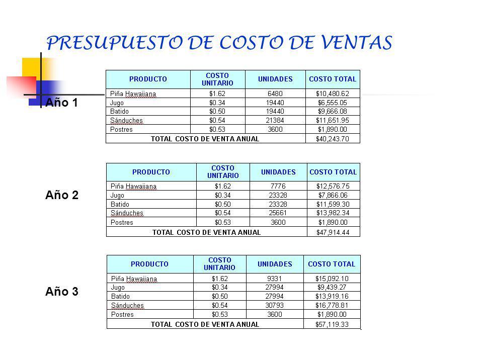 PRESUPUESTO DE COSTOS Y GASTOS Depreciacion Amortizacion