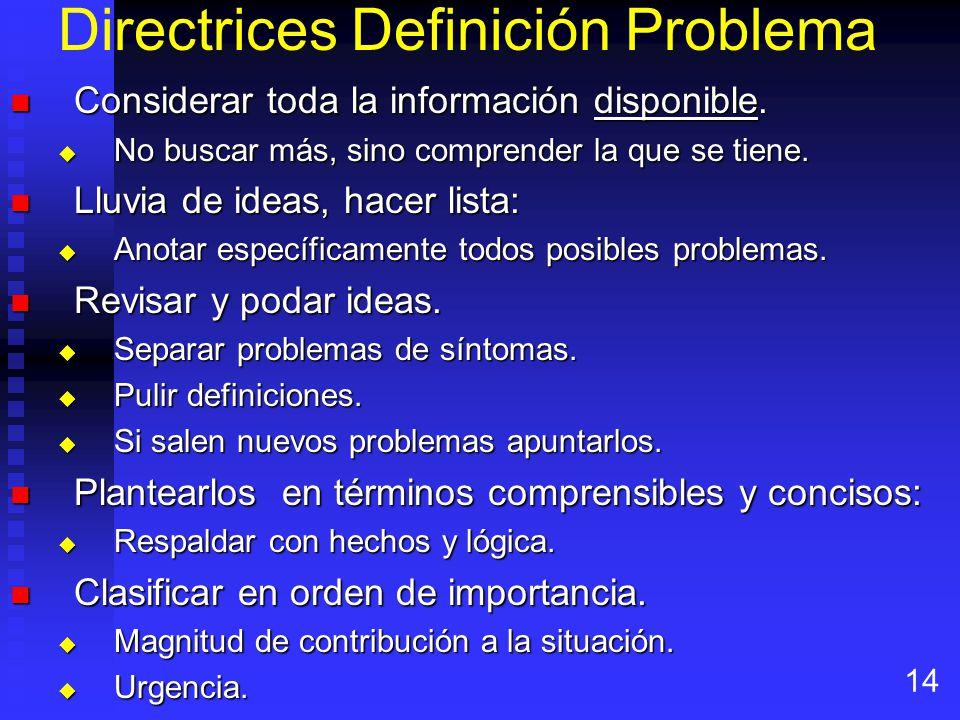 Directrices Definición Problema Considerar toda la información disponible.