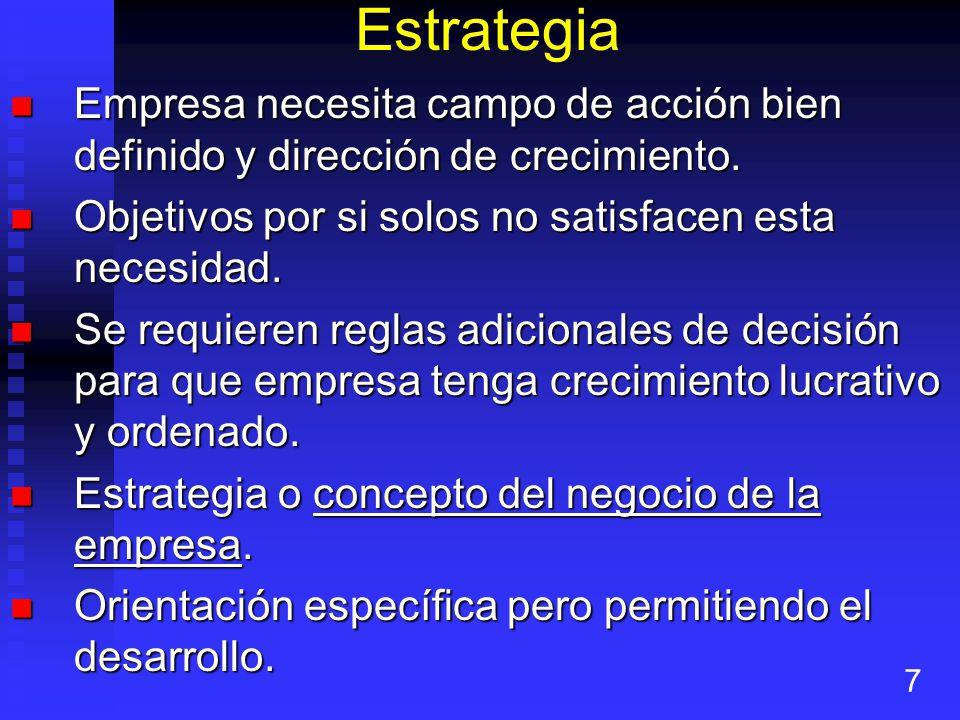 Estrategia Empresa necesita campo de acción bien definido y dirección de crecimiento.