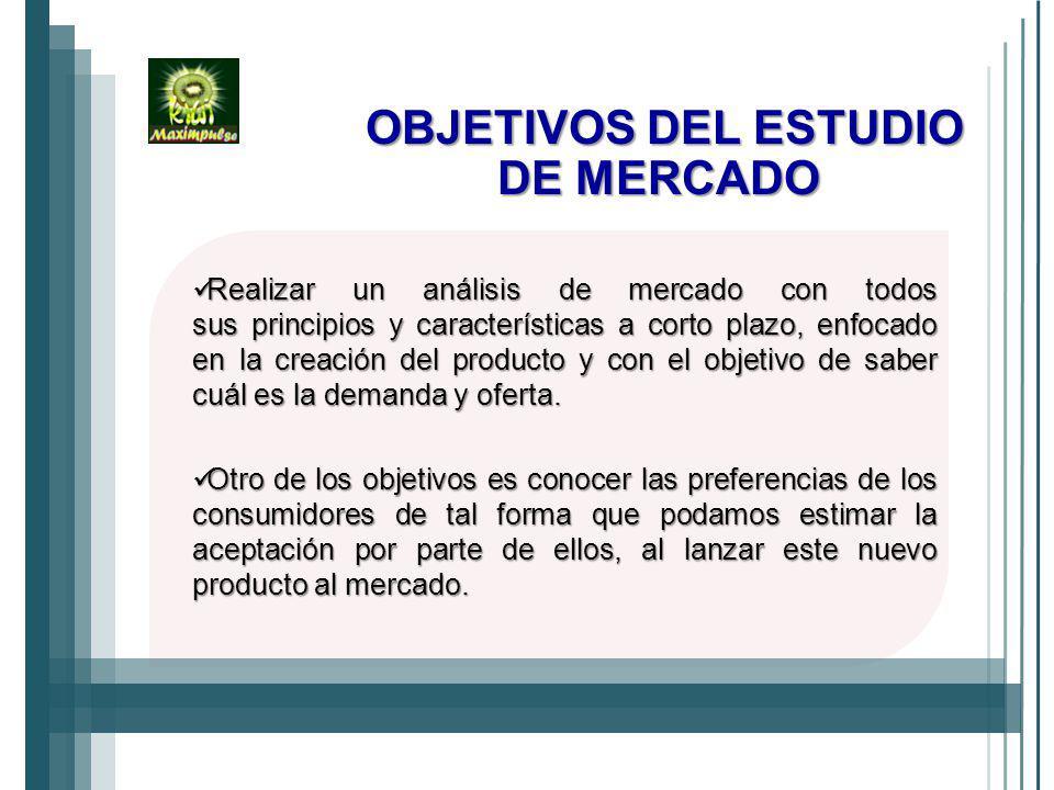 OBJETIVOS DEL ESTUDIO DE MERCADO Realizar un análisis de mercado con todos sus principios y características a corto plazo, enfocado en la creación del producto y con el objetivo de saber cuál es la demanda y oferta.
