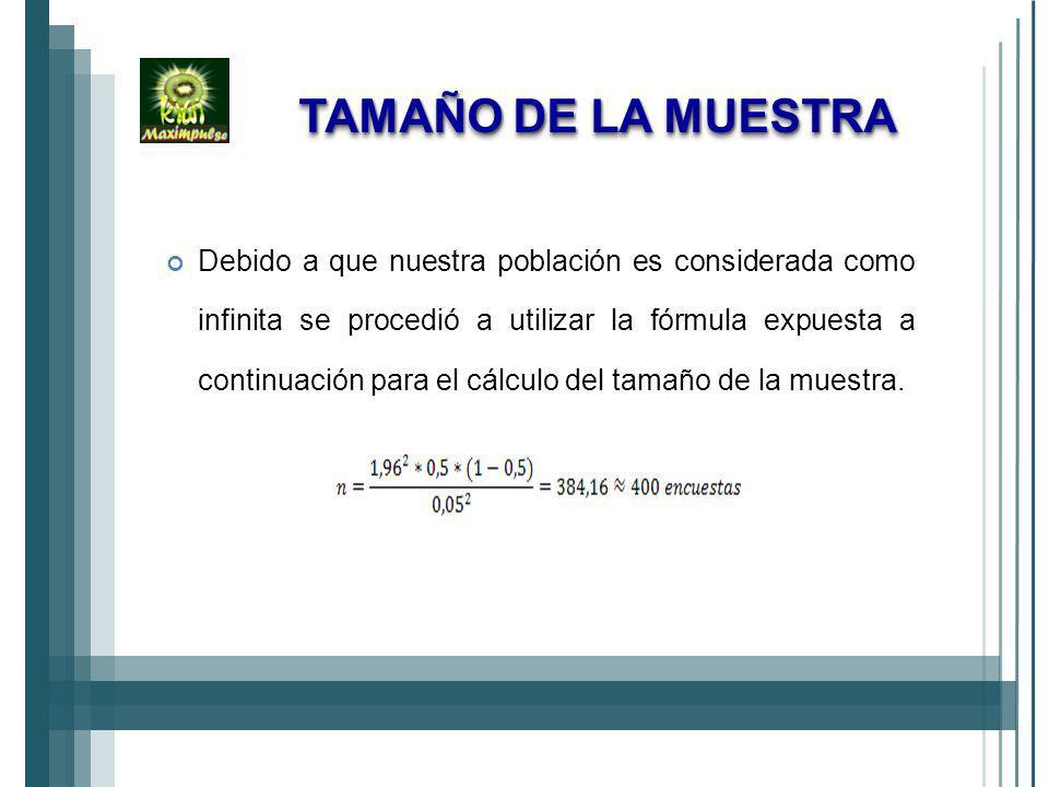 TAMAÑO DE LA MUESTRA Debido a que nuestra población es considerada como infinita se procedió a utilizar la fórmula expuesta a continuación para el cálculo del tamaño de la muestra.