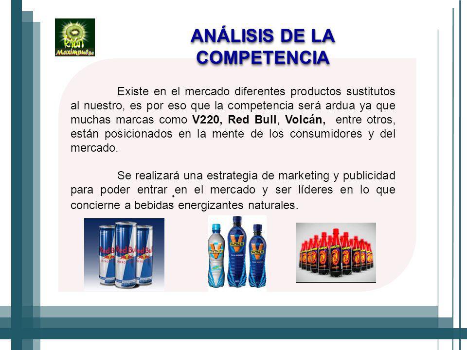 ANÁLISIS DE LA COMPETENCIA Existe en el mercado diferentes productos sustitutos al nuestro, es por eso que la competencia será ardua ya que muchas marcas como V220, Red Bull, Volcán, entre otros, están posicionados en la mente de los consumidores y del mercado.