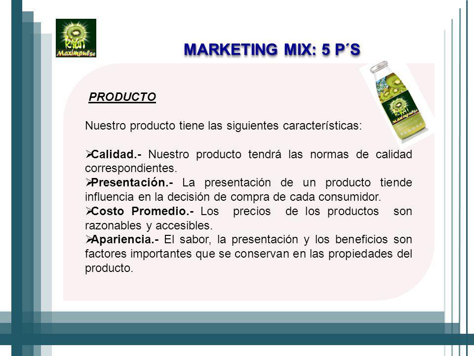 PRODUCTO Nuestro producto tiene las siguientes características: Calidad.- Nuestro producto tendrá las normas de calidad correspondientes.