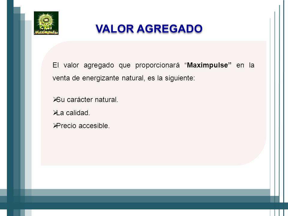 El valor agregado que proporcionará Maximpulse en la venta de energizante natural, es la siguiente: Su carácter natural.