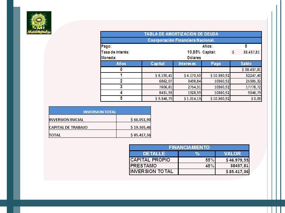 INVERSION TOTAL INVERSION INICIAL$ 66.051,90 CAPITAL DE TRABAJO$ 19.365,46 TOTAL$ 85.417,36