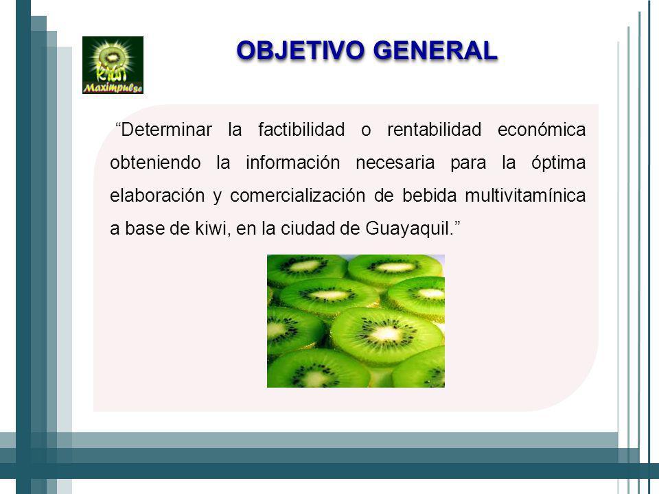 OBJETIVO GENERAL Determinar la factibilidad o rentabilidad económica obteniendo la información necesaria para la óptima elaboración y comercialización de bebida multivitamínica a base de kiwi, en la ciudad de Guayaquil.
