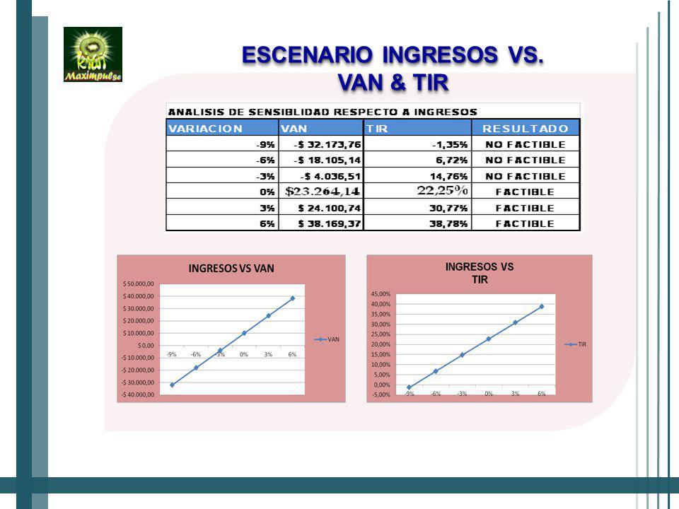 ESCENARIO INGRESOS VS. VAN & TIR
