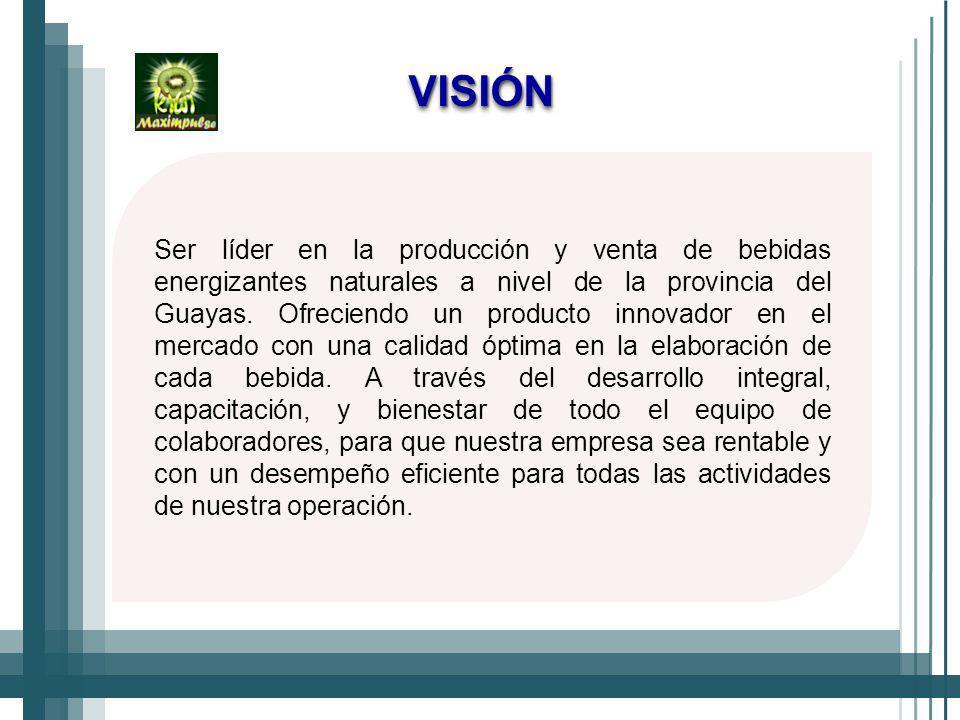 Ser líder en la producción y venta de bebidas energizantes naturales a nivel de la provincia del Guayas.