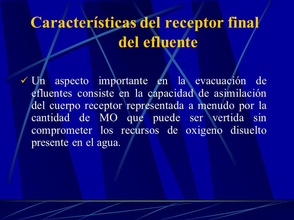 Un aspecto importante en la evacuación de efluentes consiste en la capacidad de asimilación del cuerpo receptor representada a menudo por la cantidad